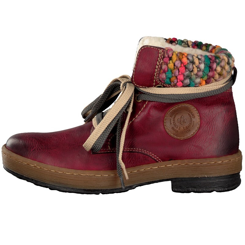 Rieker women lace up boot red Z6700 35