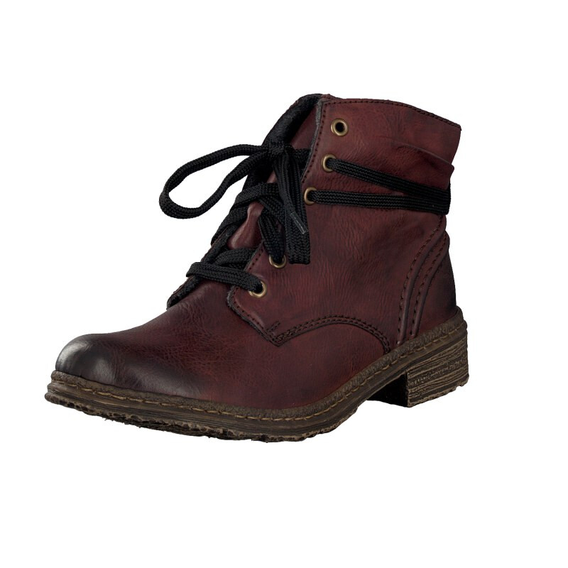 Rieker women lace up boot red 74220-35