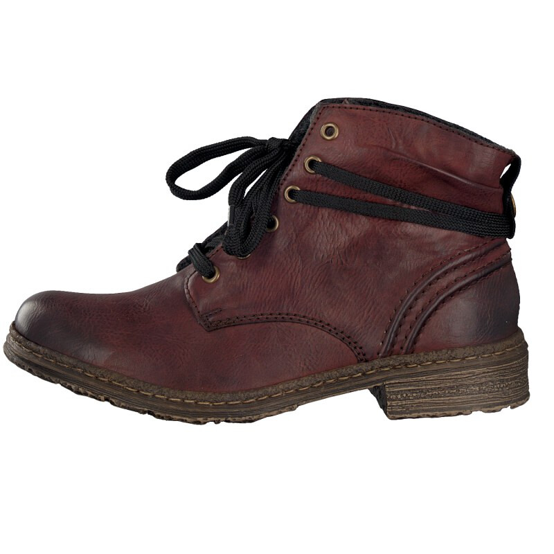 Rieker women lace up boot red 74220 35