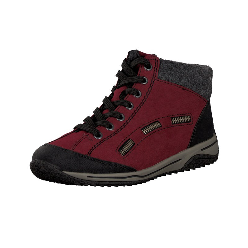 Rieker women lace up boot red L5243 01